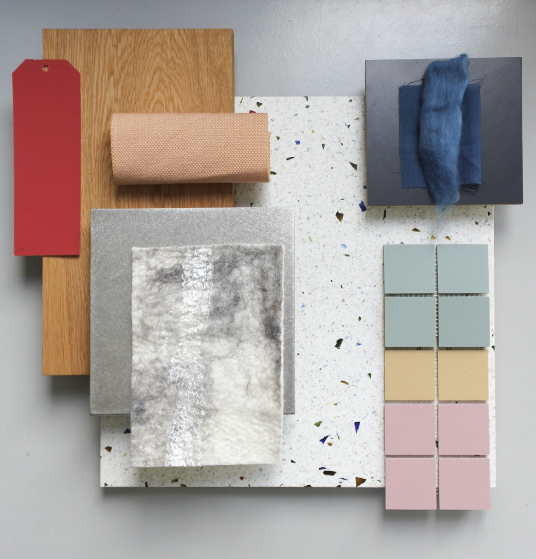 Kleuren en materialen moodboard voor de binnenhuisarchitectuur van deze moderne bungalow.