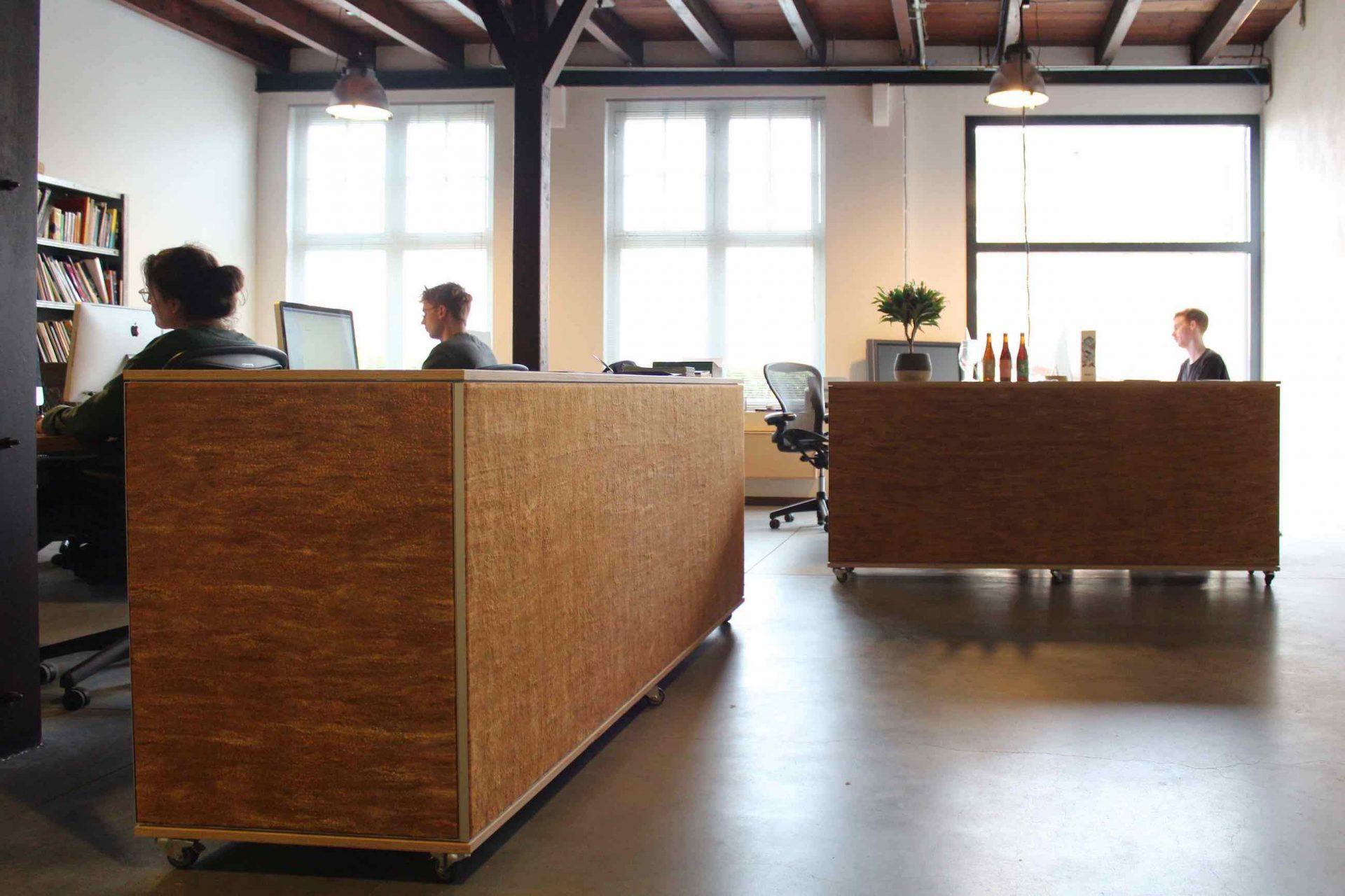 Maatwerkkasten met akoestische werking in kantoorsetting.