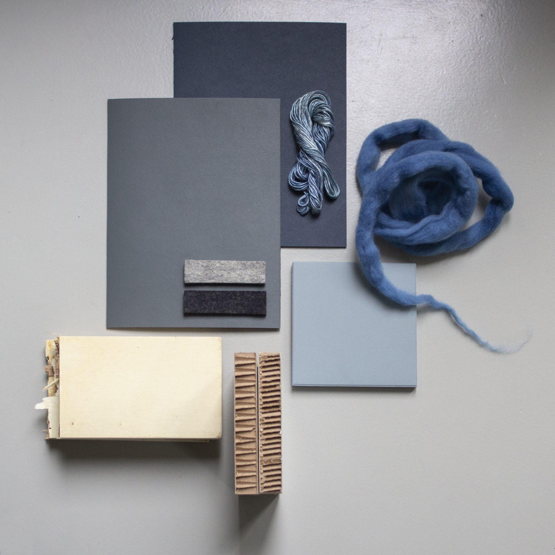 interieurontwerp moodboard kleur materiaal wol hout karton linoleum zijde tegel interieurarchitect binnenhuisarchitect binnenhuisarchitectuur interieur advies