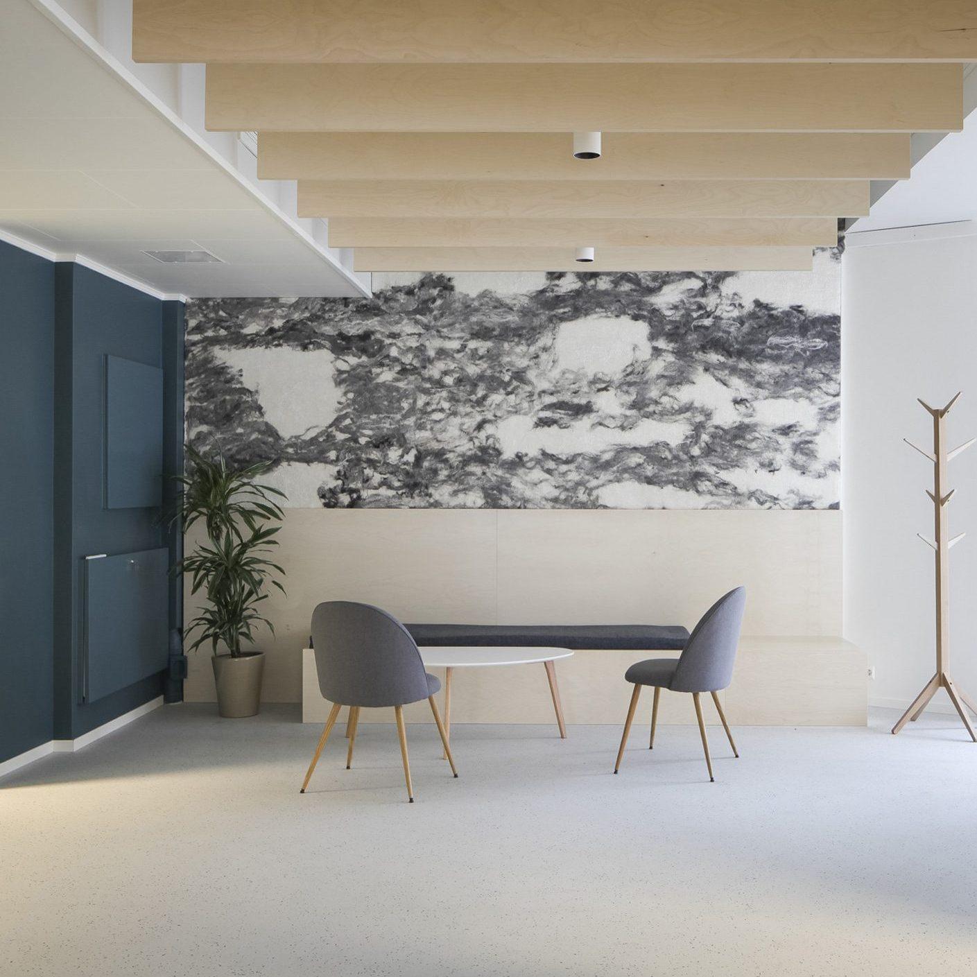 interieurontwerp kantoor zakelijk ontvangstruimte akoestiek hout blauw Scandinavisch interieurarchitect binnenhuisarchitect interieur advies